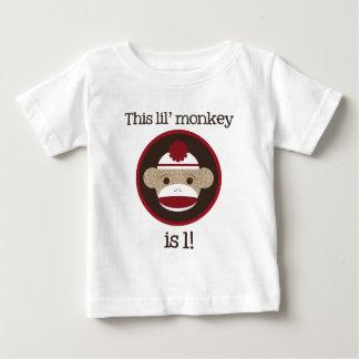 Camiseta De Bebé Rojo y mono del calcetín de Brown: Primera