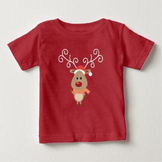 Camiseta De Bebé Rudolph lindo el dibujo animado sospechado rojo