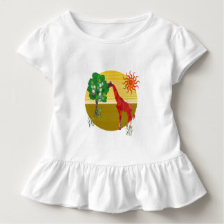 Camiseta De Bebé Salvaje africano de la jirafa alta colorida linda