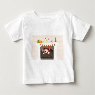Camiseta De Bebé santa negro pegado en chimenea