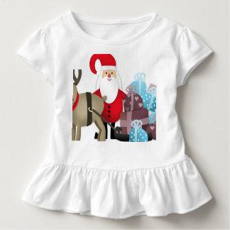 Camiseta De Bebé Santa y su reno con los regalos