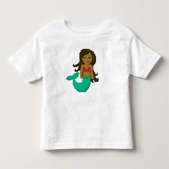 Camiseta De Bebé sirena del friki del pixel 8Bit con la piel oscura