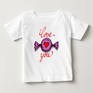 Camiseta De Bebé Te amo (caramelo rosado)