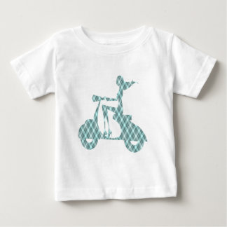 Camiseta De Bebé tela escocesa del azul de la vespa del chica