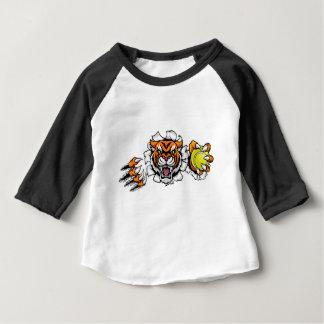 Camiseta De Bebé Tigre que sostiene la pelota de tenis que rompe el