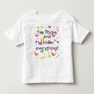 Camiseta De Bebé Tres años lo saben todo
