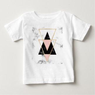 Camiseta De Bebé Triángulos, oro, negro, rosa, mármoles, collage,
