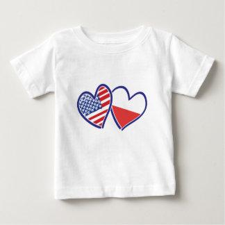 CAMISETA DE BEBÉ USA-POLISH-FLAG-HEARTS