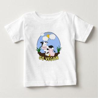 Camiseta De Bebé Va el vegano - cerdo, vaca y pollo lindos