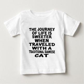 Camiseta De Bebé Viajado con el gato siamés tradicional