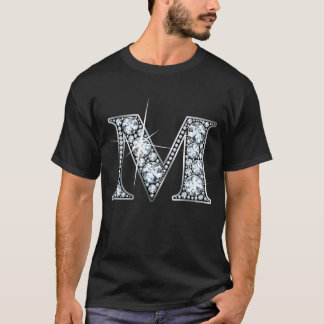 "Camiseta de Bling del diamante de ""M"""