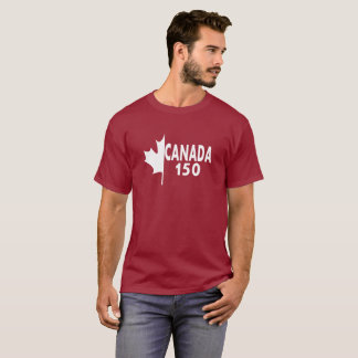 Camiseta de Canadá 150 (blanca en rojo)
