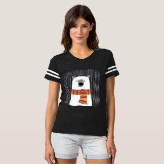 Camiseta Dé el oso blanco de dibujo con la bufanda, diseño