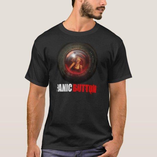 Camiseta de griterío de la lente del botón de