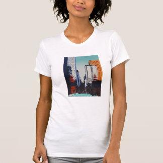 Camiseta de la bella arte con el paisaje urbano de