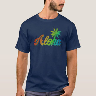 Camiseta de la hawaiana del vintage - arco iris