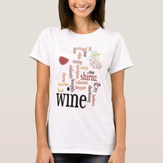 Camiseta de la nube de la palabra del vino