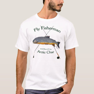 Camiseta de la pesca con mosca del carbón de leña