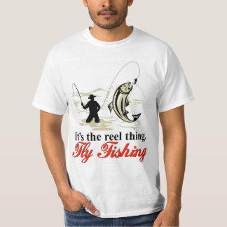 Camiseta de la pesca con mosca del carrete