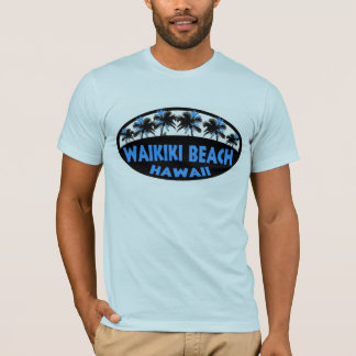 Camiseta de las palmas del negro azul de Hawaii de