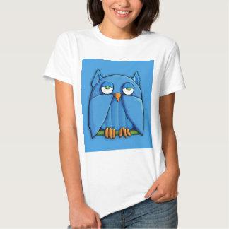 Camiseta de las señoras de la aguamarina del búho