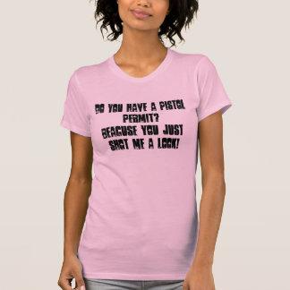 Camiseta de las señoras del permiso de la pistola