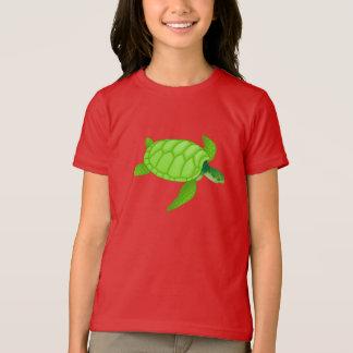 Camiseta de los chicas de la tortuga de mar verde