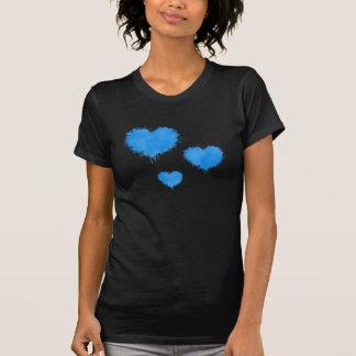 Camiseta de los corazones de la turquesa