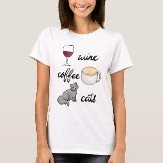 Camiseta de los gatos del café del vino