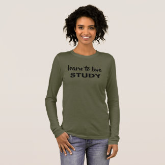 Camiseta De Manga Larga Aprenda vivir, estudiar