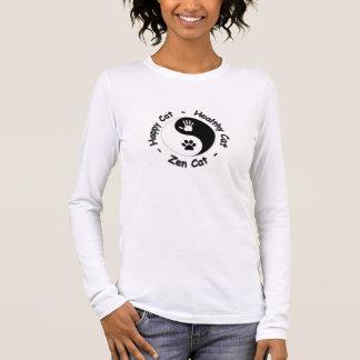Camiseta De Manga Larga Camisa:  Gato feliz - gato sano - gato del zen