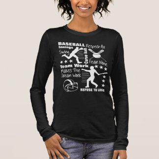 Camiseta De Manga Larga Citas de los aficionados al béisbol y diseño