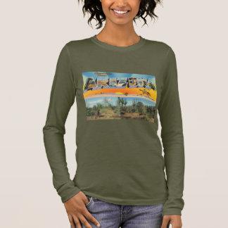 Camiseta De Manga Larga Collage de la postal de Arizona del vintage