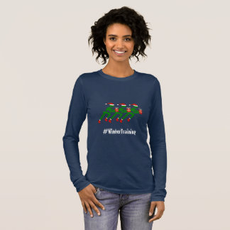 Camiseta De Manga Larga Corredores de encargo de Navidad del texto del
