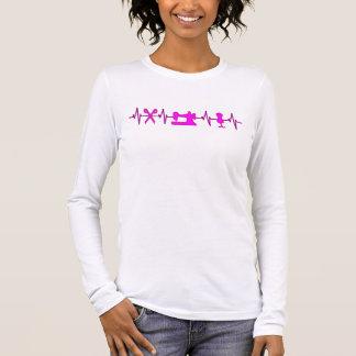 Camiseta De Manga Larga Golpes de corazón de EKG para coser