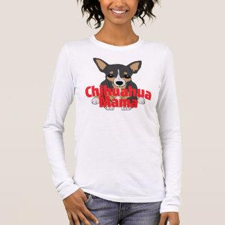 Camiseta De Manga Larga Mamá Cute Black Tan de la chihuahua