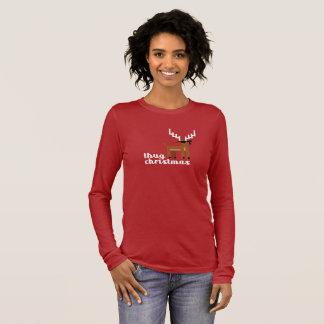 Camiseta De Manga Larga Rojo divertido de Navidad del reno del navidad de