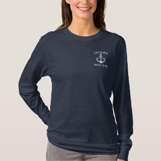 Camiseta De Mangas Largas Bordada Nupcial náutico personalizada del ancla azul