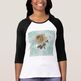 Camiseta de marfil del raglán de los rosas de la