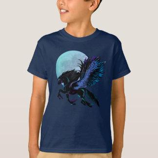Camiseta de Pegaso negro y de la luna azul