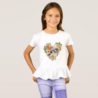 Camiseta de Tejas del volante de los chicas