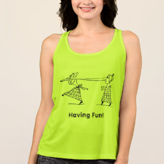 Camiseta De Tirantes Activewear largo divertido de las mujeres de la