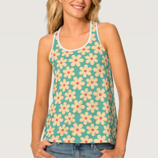 Camiseta De Tirantes Adorno feliz de la margarita del Hippie elegante