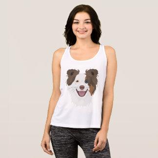 Camiseta De Tirantes Border collie feliz de la cara de los perros del