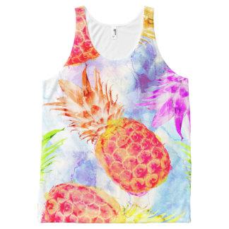 Camiseta De Tirantes Con Estampado Integral Acuarela linda del modelo tropical de la piña