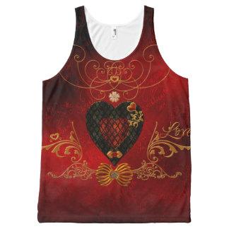 Camiseta De Tirantes Con Estampado Integral Amor, corazones maravillosos