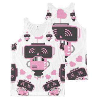 Camiseta De Tirantes Con Estampado Integral Amor del robot por todo el tanque unisex impreso