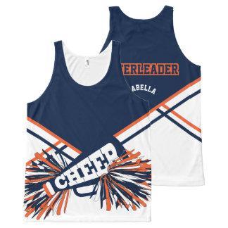 Camiseta De Tirantes Con Estampado Integral Animadora - naranja y azules marinos