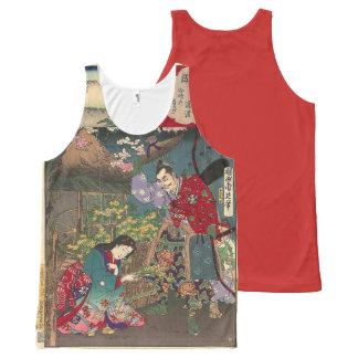 Camiseta De Tirantes Con Estampado Integral Arte hermoso japonés del samurai del geisha