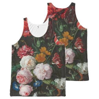 Camiseta De Tirantes Con Estampado Integral Aún el tanque floral oscuro de la vida